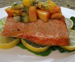 Himalayan Salt Grilled Salmon with a Tropical Fruit Chutney