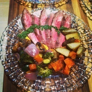 Flank steak with chimichurri and roasted vegetables